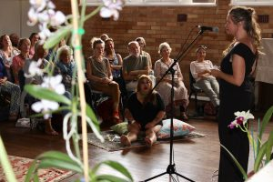 Gabby le Brun tells a tale at Stories in the Club