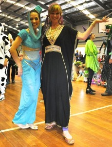 This lovely Prep teacher at Belmont Public dressed as a genie, so I HAD to get a photo with her as my character was also Arabian!