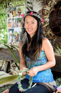 Yasmin_Matahari_makes_grass_and_flower_hair_pieces_at_Coconut_Island_Nthn Star