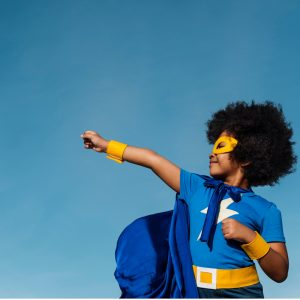 Coaching image superhero girl with Afro